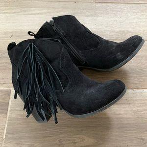 Madden Girl Black Fringe Suede Booties 7.5